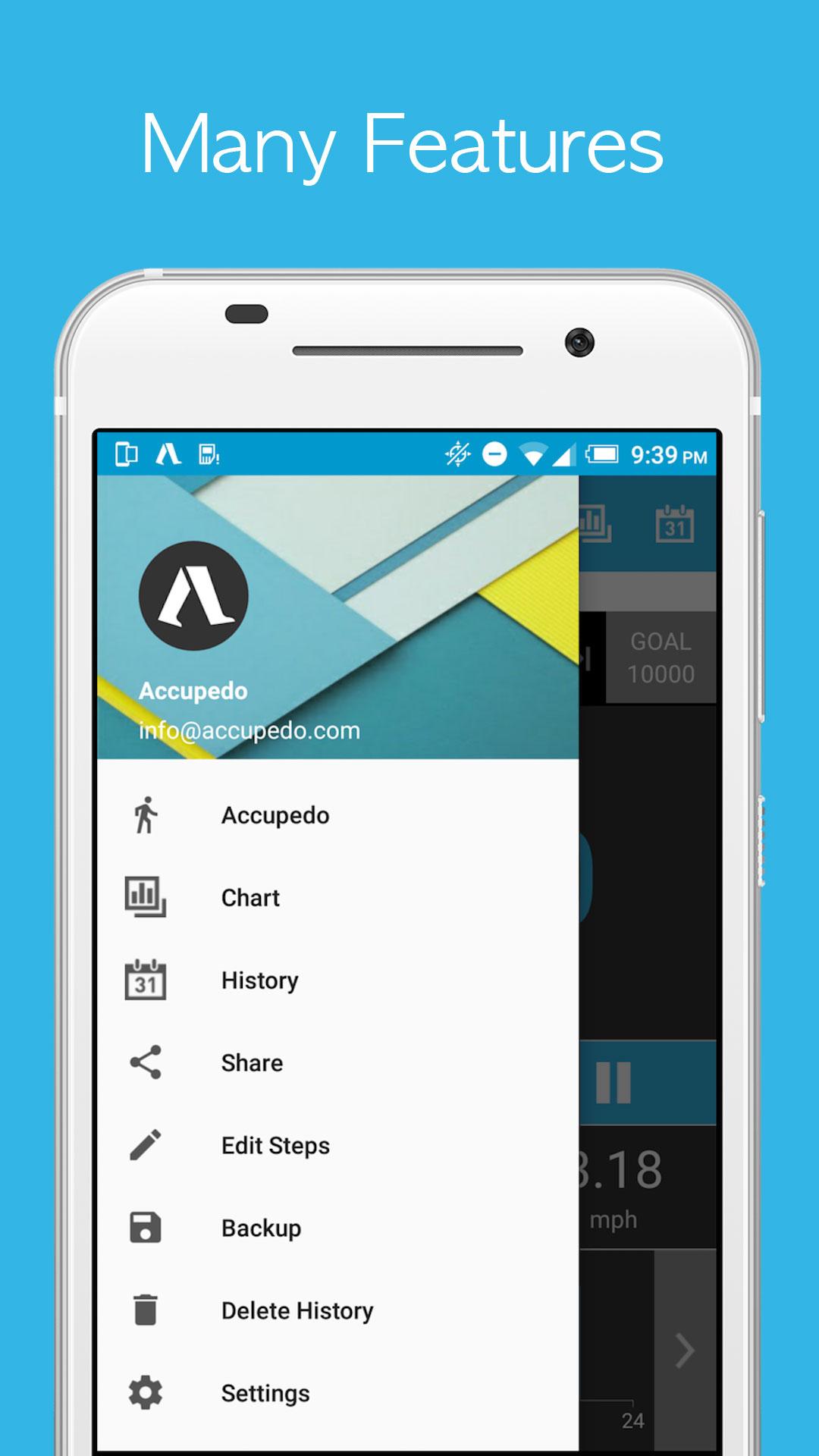 Accupedo-Pro Pedometer Android - نرم افزار قدم شمار اندروید