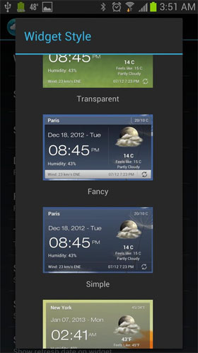 Android Weather & Clock Widget Android برنامه اندروید