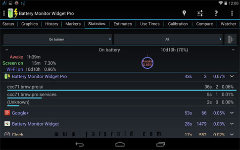Battery Monitor Widget Pro Android - مدیریت باطری اندروید