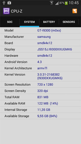 CPU-Z Android  برنامه اندروید