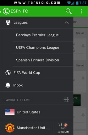 ESPN FC Soccer & World Cup Android - برنامه رایگان اندروید