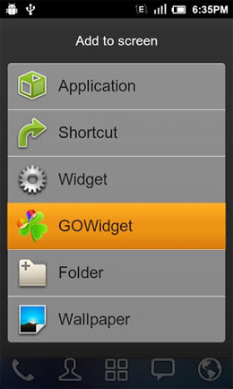 GO Switch Widget Screenshot