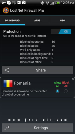 LostNet Firewall Pro Android - برنامه اندروید