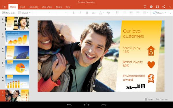 در آخر توسط اپلیکیشن Microsoft PowerPoint Preview می توانید فایل های معروف پاور پوینت را بسازید و یا فایل های مایکروسافت پاور پوینت مختلف را در محیطی زیبا مشاهده نمایید و از دیگر ویژگی های فوق العاده ی نرم افزار استفاده کنید!