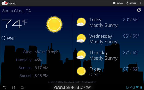 Recast Weather and Widgets Android - آب و هوا اندروید