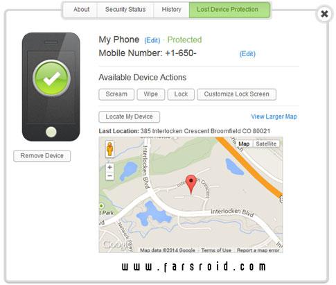 Webroot Security - Premier - پیدا کردن گوشی اندرویدی گم شده