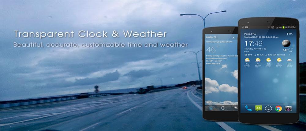 دانلود Transparent clock & weather - ساعت و آب و هوا اندروید !