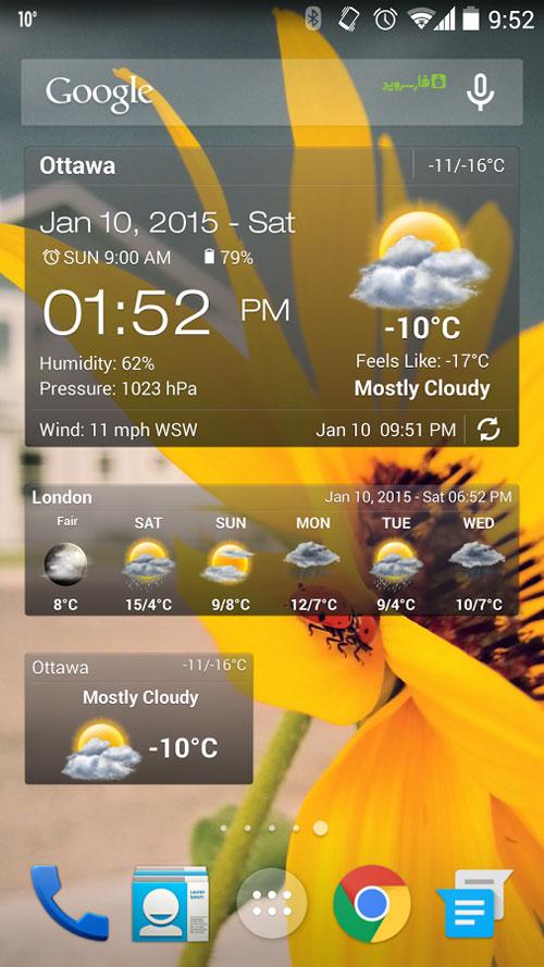 Weather & Clock Widget Ad Free Android - بازی اندروید