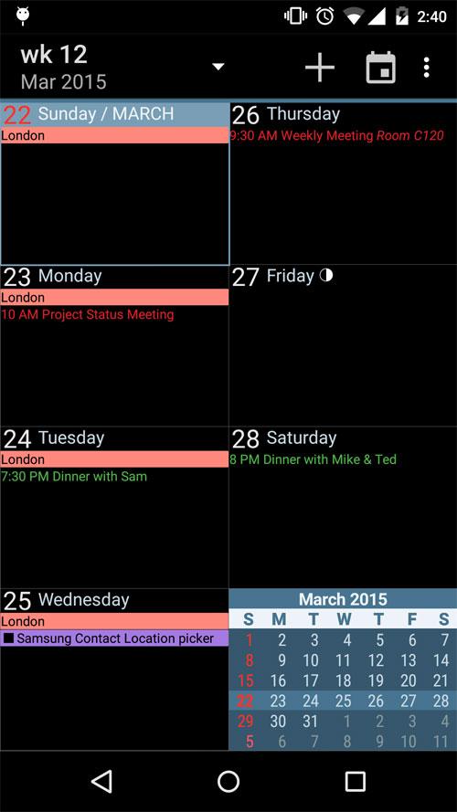 تقویم اندروید - aCalendar+ Android Calendar Android