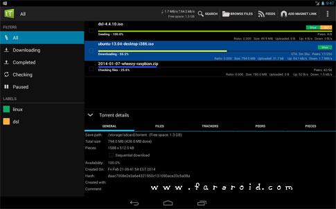 tTorrent – Torrent Client App Android - دانلود تورنت اندروید