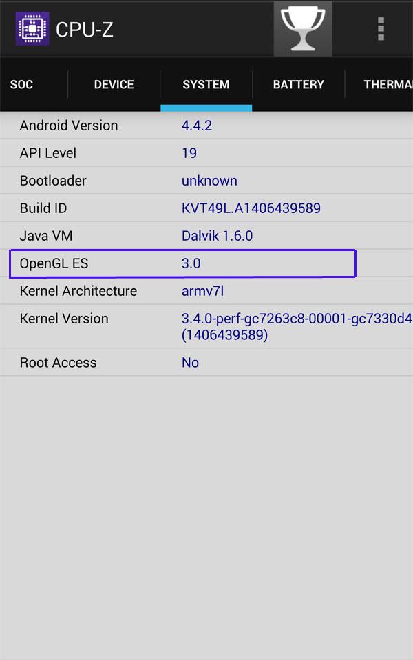 راهنمایی در مورد دانلود : برای دانلود فایل نصبی و دیتا باید OPEN-GL دستگاهتان را بدانید (در صورت دانلود اشتباه بازی برایتان اجرا نخواهد شد) ؛ برای اطلاع از این مورد باید از نرم افزار CPU-Z که در سایت موجود است استفاده کنید و با مراجعه به تب System ان را مشاهده نمایید که این مورد در تصویر زیر برای نمونه شمخص شده است :