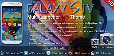 دانلود Galaxy S4 HD Multi Launcher Theme - تم گلکسی اس 4