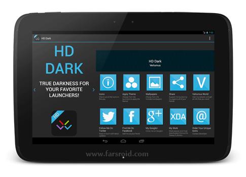 دانلود HD Dark - Apex, Nova, ADW, GO - تم مشکی اچ دی اندروید