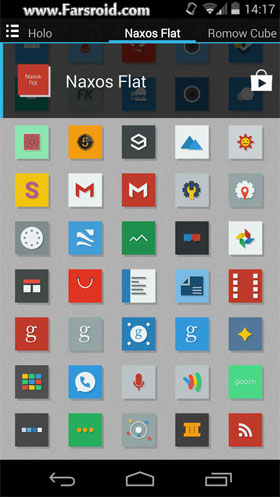 Naxos Flat Icon Pack ADW Nova Android تم جدید اندروید