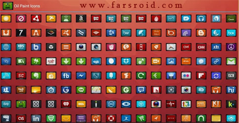 OIL PAINT ICONS APEX/NOVA/ADW Android تم اندروید