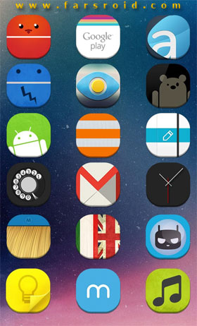 Stock UI Icon Theme Apex Nova Android تم اندروید